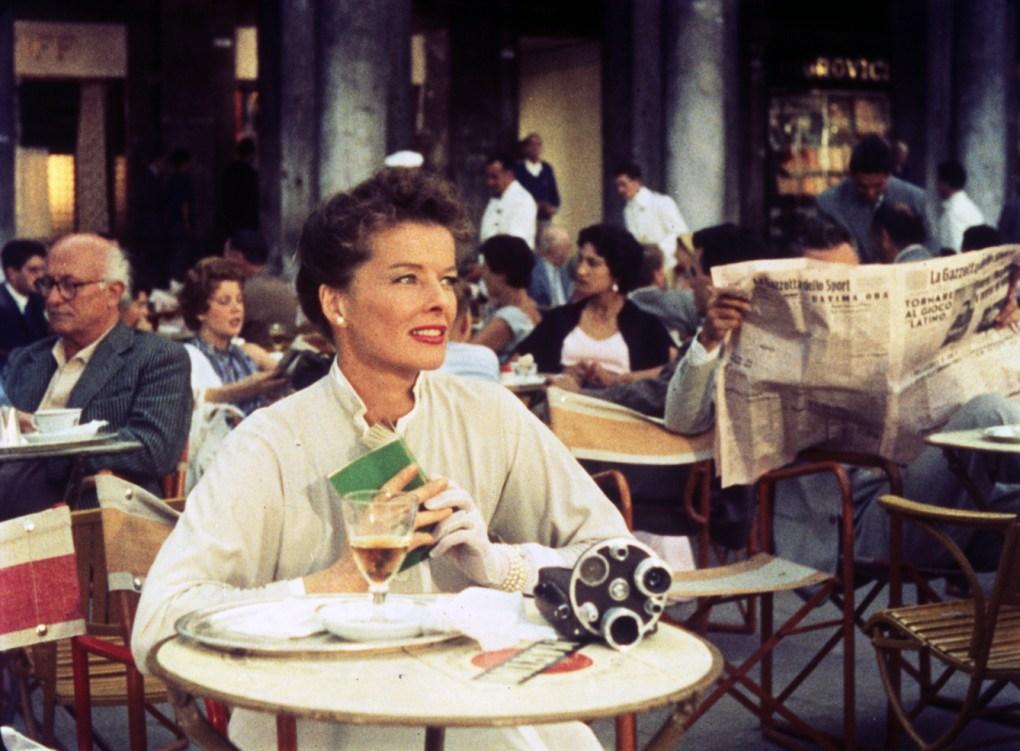 Summertime (1955) film still of Katherine Hepburn dining in Venice