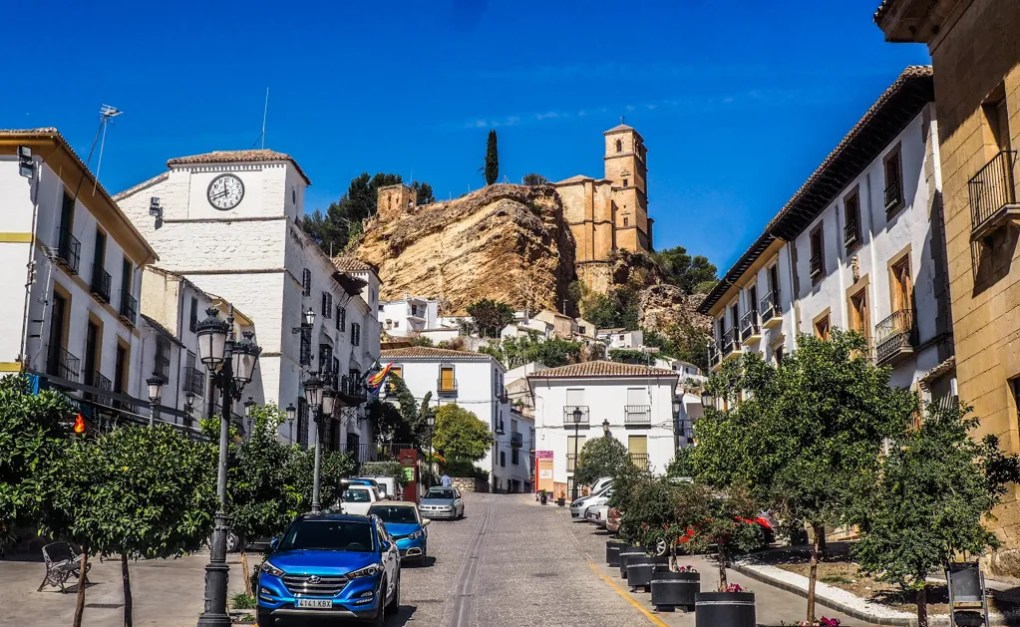 Street leading to Iglesia de la Villa Church in Montefrío, Granada in Spain