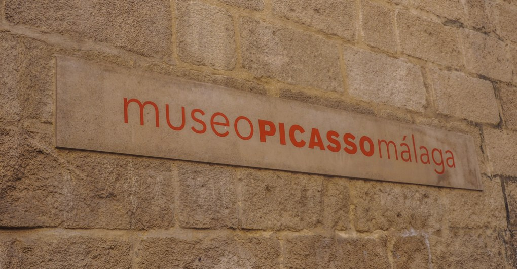 Museo Picasso exterior sign in Málaga, Spain