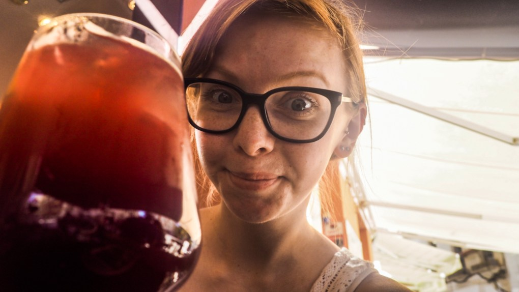 Almost Ginger blog owner with Tinto de Verano drink in Málaga, Spain
