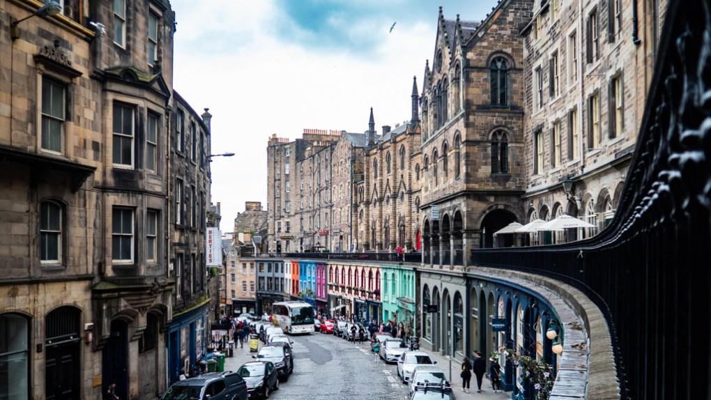 Colourful houses on Victoria Street, Edinburgh
