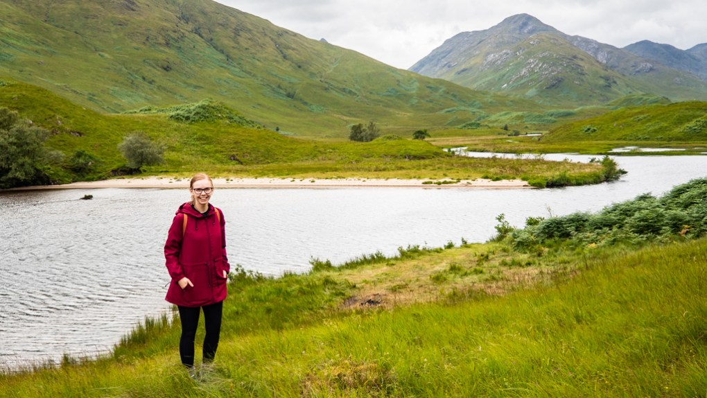 Almost Ginger blog owner at Loch Arkaig, a Harry Potter Filming Location in Scotland
