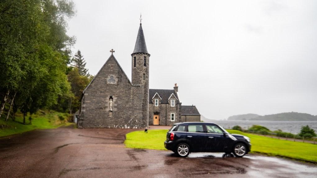 Mini Countryman car parked in Church Car Park in Morar, Scotland