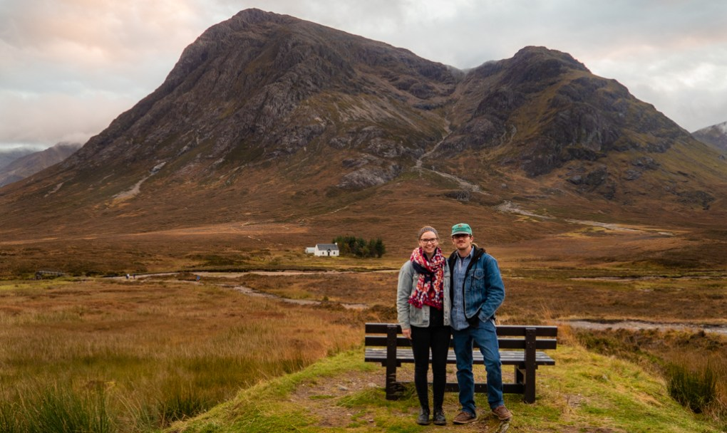 Almost Ginger blog owner and man at Glen Coe, Scotland in autumn