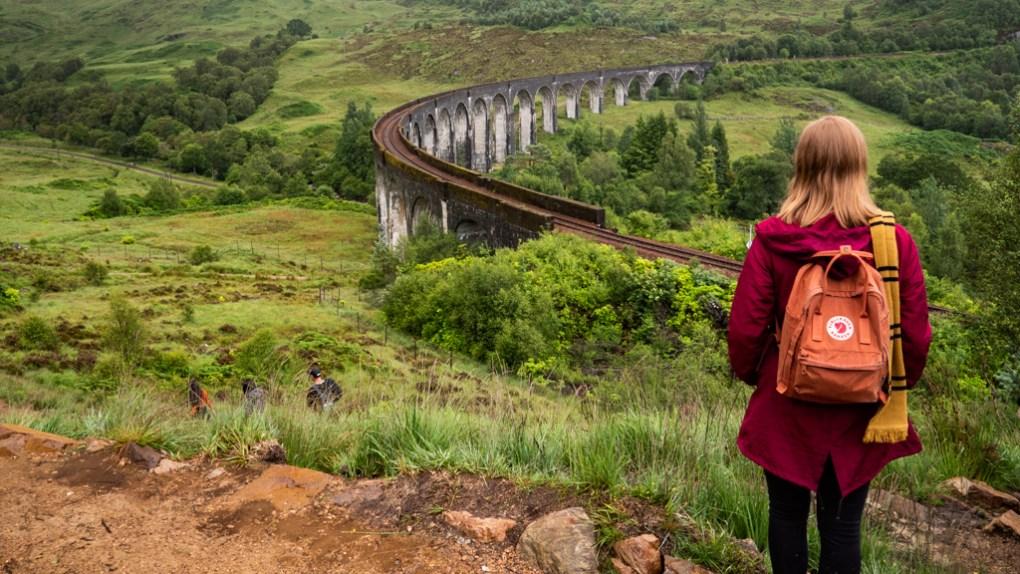 Almost Ginger blog owner at Glenfinnan Viaduct in Scotland