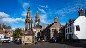 High Street and Fountain in Falkland, Scotland