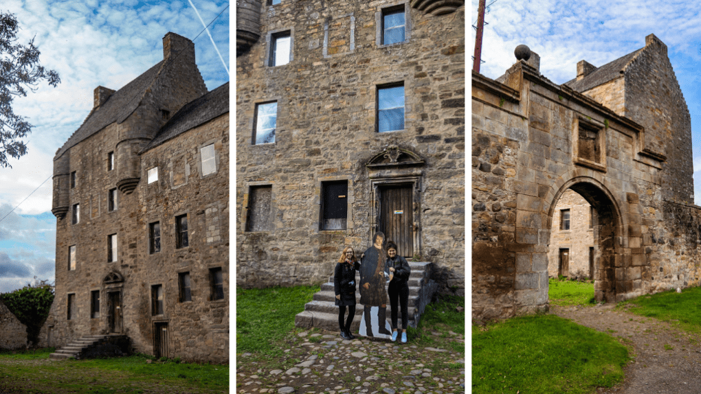 Collage of three photos: Midhope Castle, Almost Ginger blog owner with friend holding cardboard cutout of Jamie Fraser and the archway in South Queensferry, Scotland