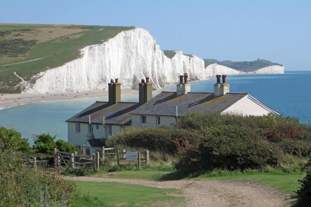 Coastguard Cottages at Seven Sisters, East Sussex in England Atonement Filming Location