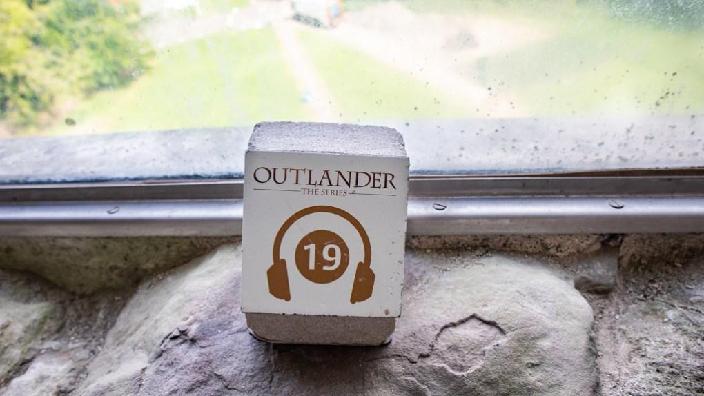 Outlander audio guide sign at Doune Castle in Doune, Scotland