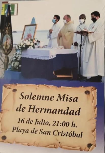 Almuñécar Fiestas Virgen del Carmen 2021 July 16 mass at san cristobal beach