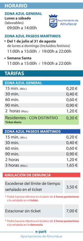 Almunecar parking rates and fines