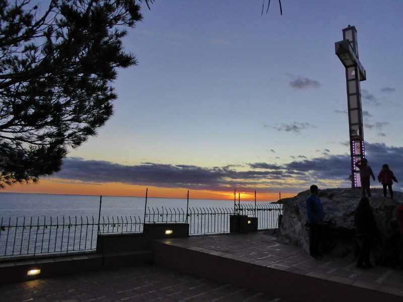 Peñones del Santo is a natural monument with the addition of illuminated cross.  Climb to the top for vast views of town and Almuñécar Granada beaches. Read more on Almunecarinfo.com