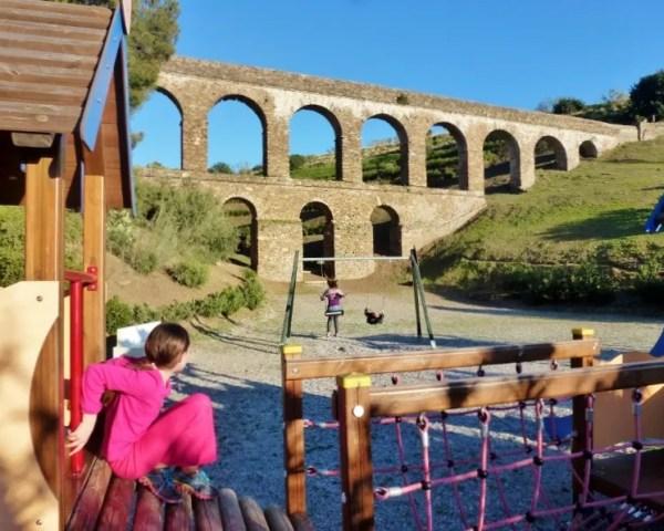 Roman Aqueduct Almunecar Spain - Roman Aqueduct Seco III - behind Santa Cruz Resort