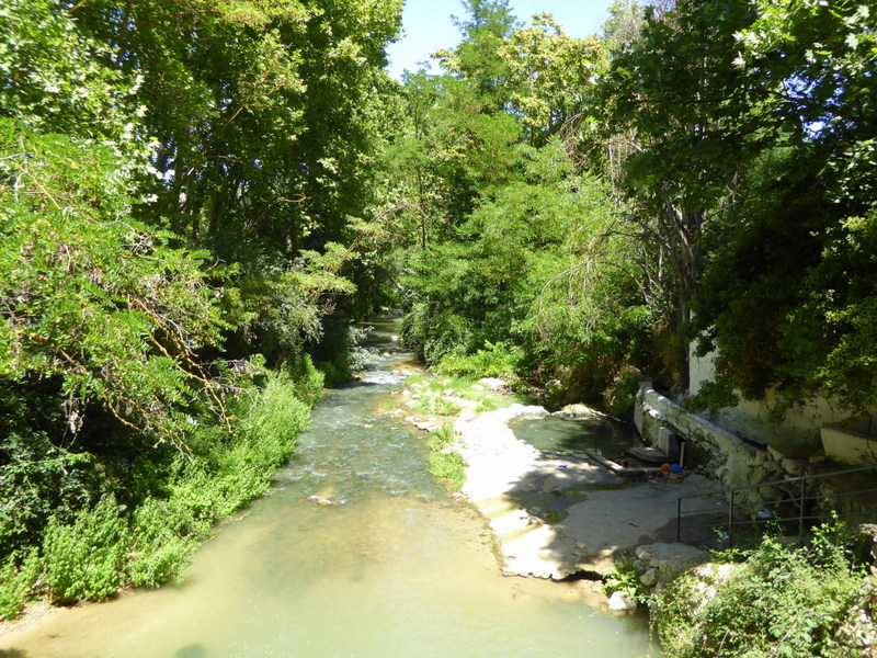 Alhama de Granada free public thermal baths or thermal hot springs along the river