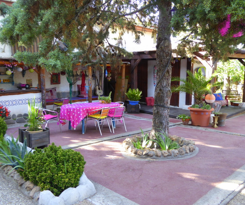 Glamping in Spain at the Nomad Xperience - communal living area glamping in Granada