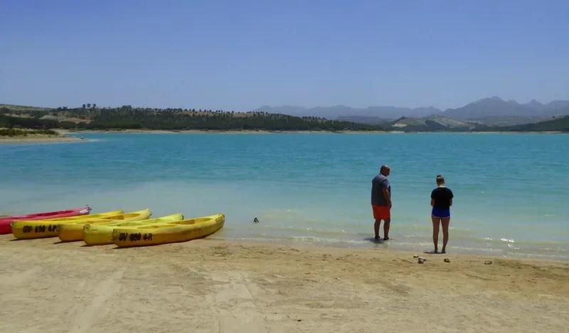 Los Bermejales Reservoir sandy beaches, kayaking, SUP and swimming