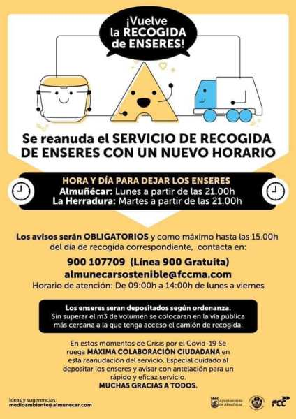 The equipment collection service is restarted with a new schedule‼ ️ ➡️ Almuñécar pick-up day: Monday from 9:00 p.m. Día️ La Herradura pick-up day: Tuesday from 9:00 p.m. ☎️ Mandatory notices at 900 107 709