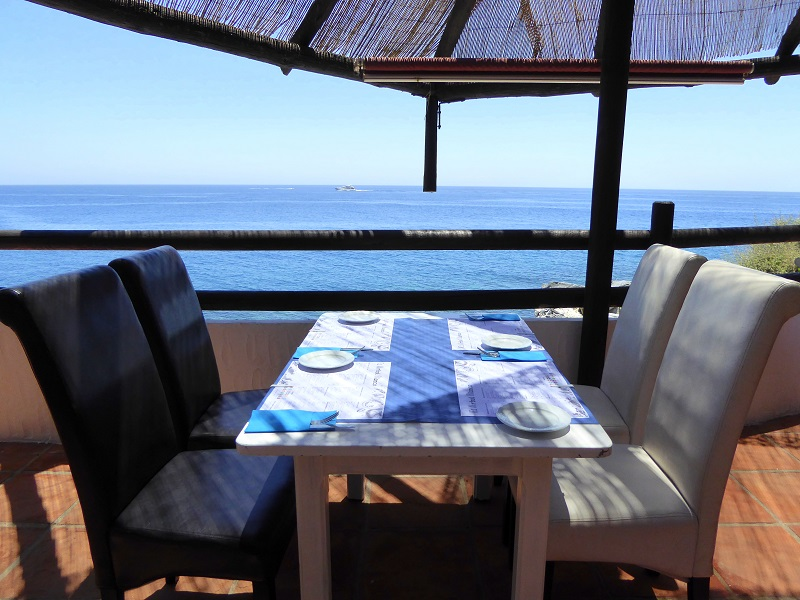 Arbol Blanco Playa Terrace Restaurant on the sea. Read more on https://almunecarinfo.com/terrace-restaurants-sky-bar-rooftop-almunecar/
