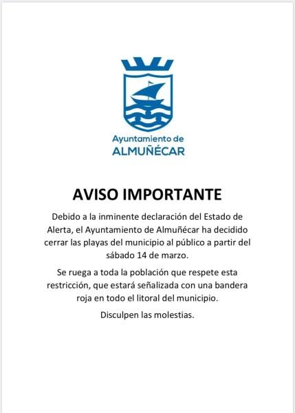 Almuñécar Beaches Closed