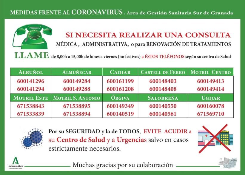 almunecar coronavirus phone numbers for centro de salud
