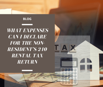 What expenses can I declare for the non-resident rental tax return (form 210)?