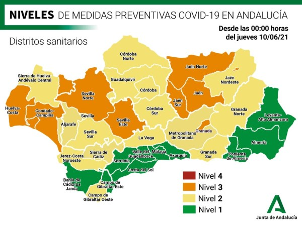 Covid measures for Granada Sur health district at Level 2 as of 10 June, 2021