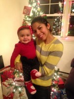 An old picture but here is Kimmy with my sister Angie on her first Christmas.. Now my sister lives in Miami.