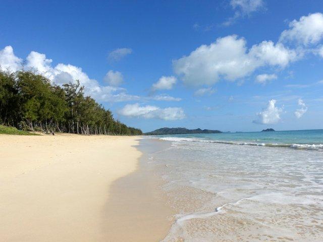 天気がいいハワイのワイマナロ・ビーチ