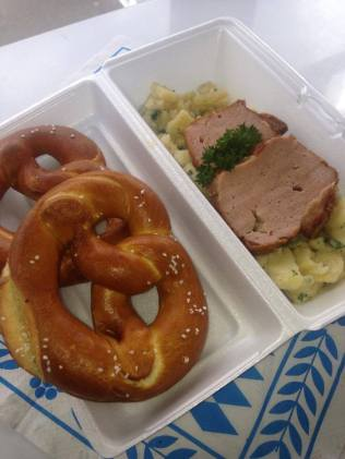 extra pretzels with your leberkaese plate