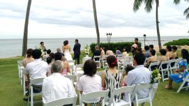 Beach front wedding ceremony