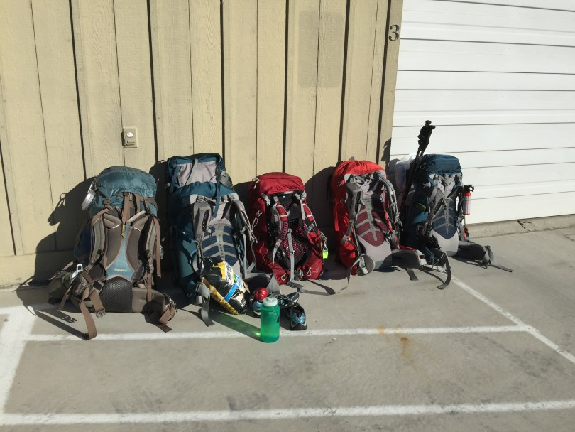 5 backpacks loaded for backpacking trip