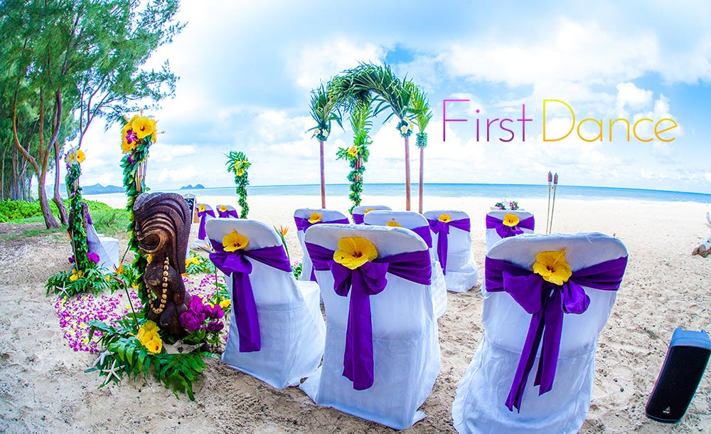 hawaiian chair covers high accessories purple sashes around white cover and yellow hibiscus in the bow