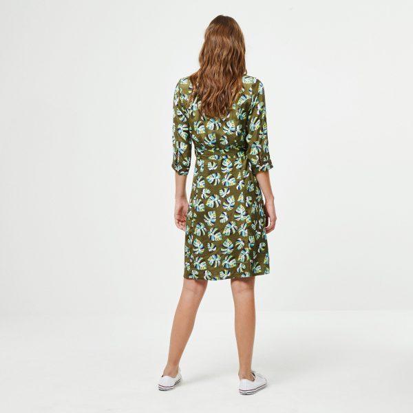 vestido hoja kaki surkana