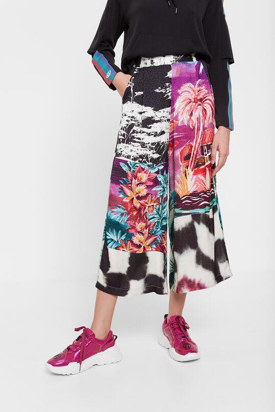 Culotte inspiracion oriental floral desigual