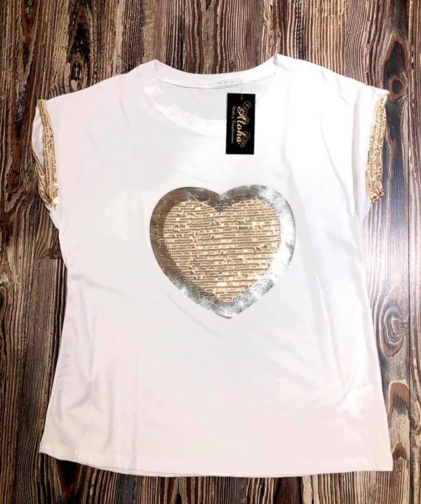 camiseta corazon lentejuela aloha