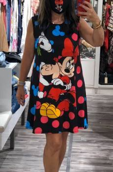Vestido tirante ancho estampacion Mickey y Deisy , talla unica Aloha