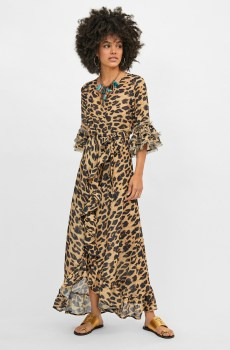Kaftan largo cruzado estampado animal print