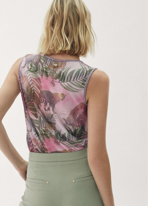 Top tropical print ribetes plateados Ref. 42163025
