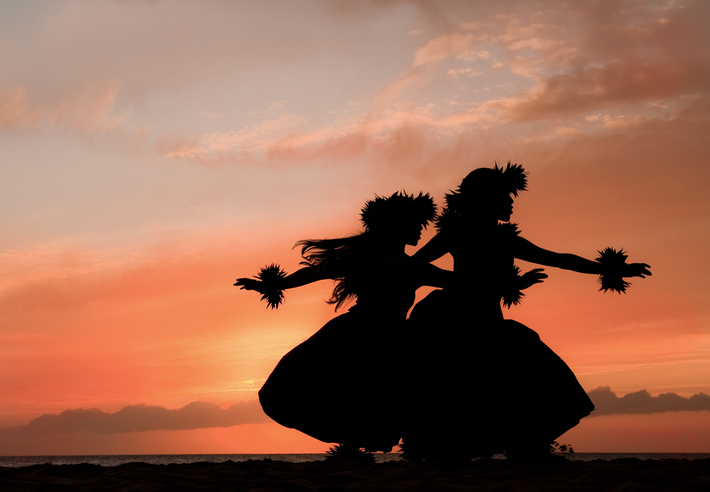 Hula Sisters Dance in Hawaiian Sunset