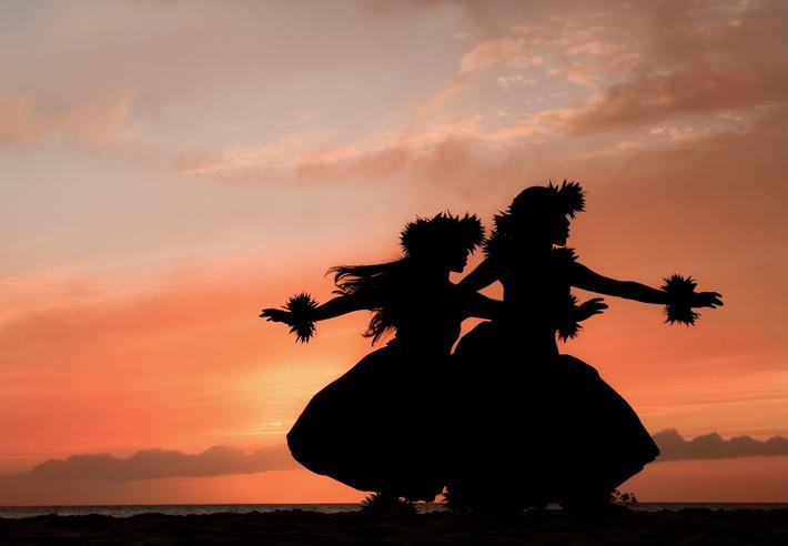 Hula Sisters Dance in Hawaiian Sunset