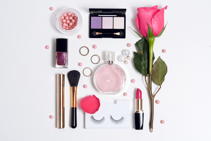 Still life of fashion woman. Set of decorative cosmetic