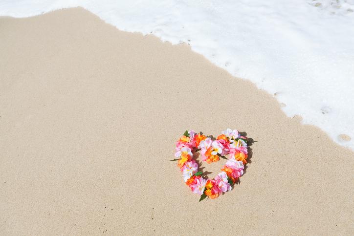 Hawaiian Lei on the Tropical Paradise Beach