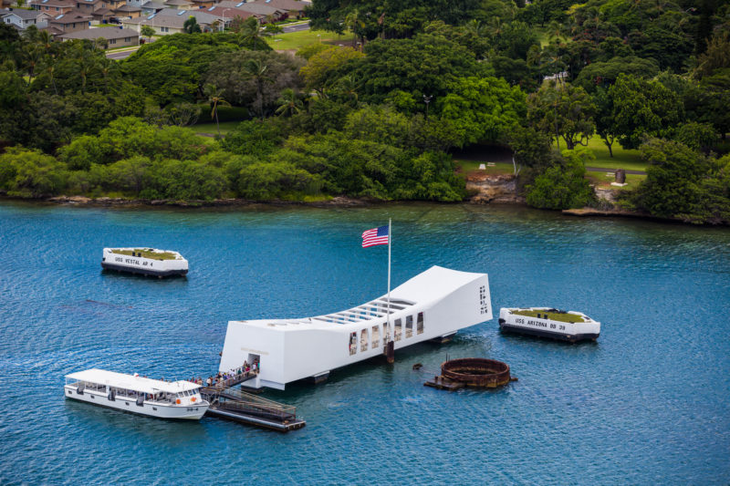 Aerial view of the USS Arizona Memorial at Pearl Harbor. Photo Credit: Hawaii Tourism Authority (HTA) / Tor Johnson