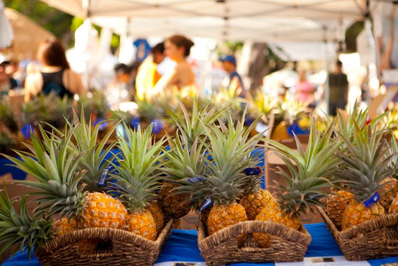 Pineapples at the Kapiolani Farmers Market.