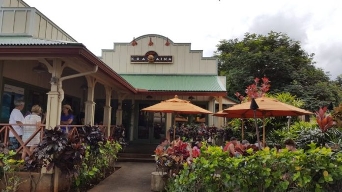 The Kua Aina Haleiwa storefront has plenty of seating indoor and outdoor.