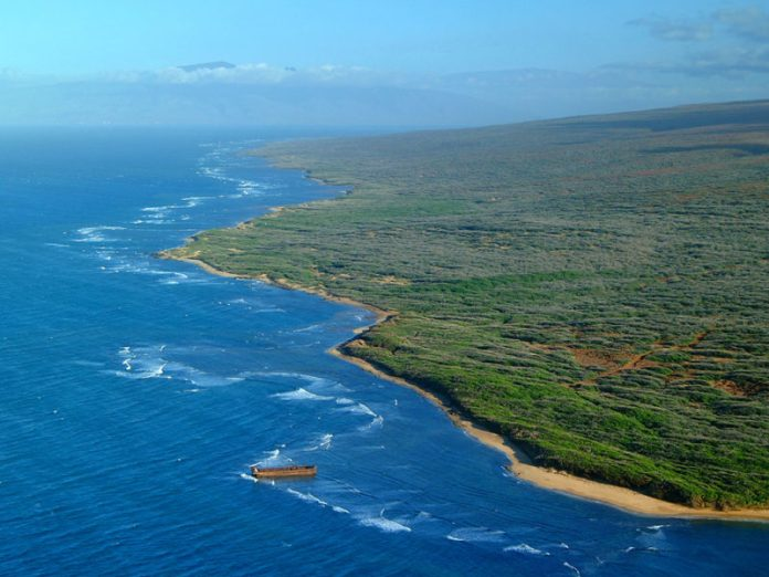 Aerial view of Shipwreck beach in Lanai.