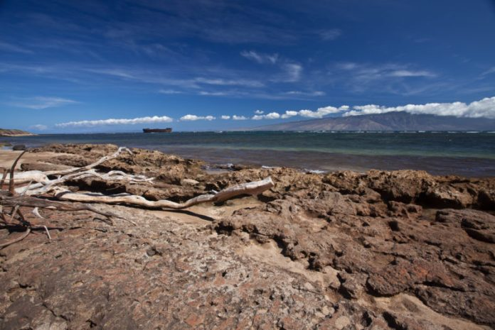 Liberty ship on Shipwreck beach in Lanai.