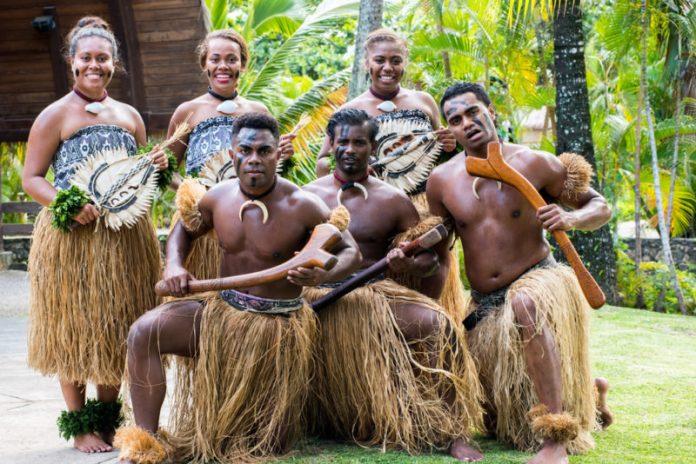 Polynesian Cultural Center dancers posing.