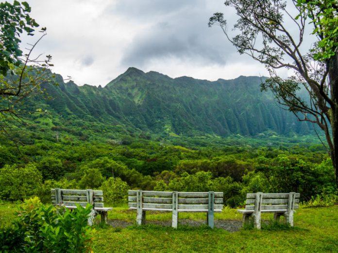 Hoomaluhia Botanical Garden's view of the Koolau mountain range.
