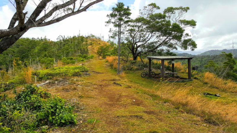 The picnic table is the end of the easy Manana trail. If you continue on, it becomes the much more difficult ridge hike.
